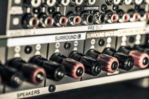Input jacks on back of AV equipment